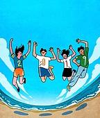 점프, 여러명[3-5] (사람들), 환호, 새해 (홀리데이), 2019년, 여행