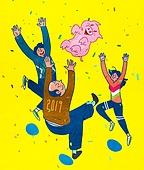점프, 여러명[3-5] (사람들), 환호, 새해 (홀리데이), 2019년, 돼지 (발굽포유류)
