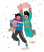 점프, 여러명[3-5] (사람들), 환호, 새해 (홀리데이), 2019년, 꽃가루, 대학생, 돼지 (발굽포유류)
