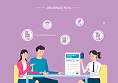 보험 (주제), 보험설계사 (금융직), 보험금, 보험료, 특약 (보험), 일러스트, 조언 (컨셉)