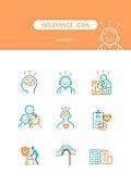 아이콘, 건강한생활 (주제), 건강관리 (주제), 보험 (주제), 의료보험, 치매
