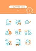 아이콘, 건강한생활 (주제), 건강관리 (주제), 보험 (주제), 강아지, 펫보험 (보험)