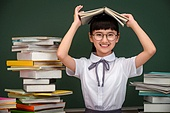 어린이, 초등학생, 학생, 학교, 창의력, 여자아이, 소녀, 칠판, 책