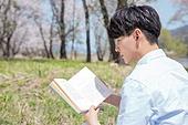 남성, 봄, 벚꽃, 휴식, 읽기 (응시)