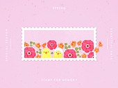 추억, 프레임, 우표, 봄, 꽃