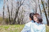 커플 (인간관계), 봄, 여유로운주말 (레저활동), 벚꽃, 데이트, 소풍, 등맞대기