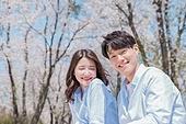 커플 (인간관계), 봄, 여유로운주말 (레저활동), 벚꽃, 데이트