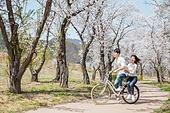 커플 (인간관계), 봄, 데이트, 미소, 타기, 행복