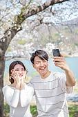 커플 (인간관계), 봄, 여유로운주말 (레저활동), 벚꽃, 데이트, 셀피, 셀프카메라 (포즈취하기), 미소