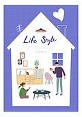 집, 라이프스타일, 프레임, 라이프스타일 (주제), 커플, 부부, 거실, 가구
