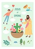 기독교, 예수 그리스도 (Christianity), 어린이 (인간의나이), 종교, 꽃바구니, 꽃, 식물, 나무