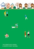 라이프스타일 (주제), 일러스트, 공원, 잔디밭, 휴식, 반려동물 (길든동물)
