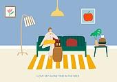 라이프스타일 (주제), 일러스트, 휴식, 욜로 (컨셉), 맥주, 휴식 (정지활동)