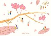 라이프스타일 (주제), 일러스트, 봄 (계절), 홀리 (전통축제), 벚꽃 (화목류), 데이트, 커플
