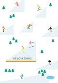라이프스타일 (주제), 일러스트, 스키 (겨울스포츠), 스키장 (휴양지), 겨울방학, 스노우보드 (스포츠용품), 겨울스포츠
