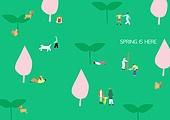 라이프스타일 (주제), 일러스트, 봄 (계절), 공원, 잔디밭, 휴식, 휴가 (주제), 식목 (환경보호)