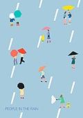 라이프스타일 (주제), 일러스트, 비 (물형태), 비가억수같이내림, 날씨, 장마 (계절)