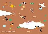 라이프스타일 (주제), 일러스트, 다이빙 (내려가기), 스카이다이빙, 낙하산, 레저활동 (주제)