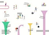 라이프스타일 (주제), 일러스트, 음악, 음악기호 (심볼), 스트리트퍼포머 (공연자), 버스킹, 공연예술 (문화와예술)