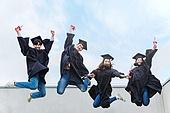 청년 (성인), 대학교, 대학생, 졸업, 졸업 (학교생활), 점프, 미소