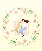 봄, 프레임, 꽃, 사람, 반려동물, 소풍, 여성 (성별), 애완견 (개)
