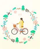 봄, 프레임, 꽃, 사람, 자전거, 여성 (성별), 소풍, 나무, 잎