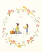 봄, 프레임, 꽃, 사람, 나무, 튤립, 잎, 소풍, 엄마, 딸