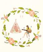 봄, 프레임, 꽃, 사람, 기타 (현악기), 여성 (성별), 취미