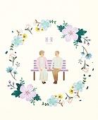 봄, 프레임, 꽃, 사람, 노인커플 (이성커플), 벤치 (좌석), 공원, 소풍