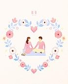 봄, 프레임, 꽃, 사람, 커플, 하트, 소풍