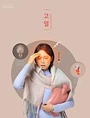 그래픽이미지, 합성, 고통 (컨셉), 건강관리 (주제), 고통, 상해 (건강이상), 한국인, 여성, 고열, 감기