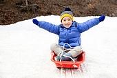 겨울, 눈 (얼어있는물), 썰매타기, 어린이 (인간의나이)