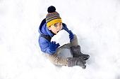 겨울, 눈 (얼어있는물), 썰매타기, 어린이 (인간의나이), 먹기