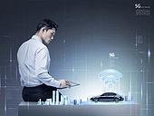 그래픽이미지, 합성, 비즈니스, 4차산업혁명 (산업혁명), 5G, 커뮤니케이션 (주제), 연결 (컨셉), 컴퓨터네트워크 (컴퓨터장비), 비즈니스맨