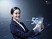 그래픽이미지, 합성, 비즈니스, 4차산업혁명 (산업혁명), 5G, 커뮤니케이션 (주제), 연결 (컨셉), 컴퓨터네트워크 (컴퓨터장비), 비즈니스우먼