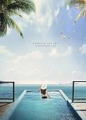 그래픽이미지, 휴식, 휴가, 휴가 (주제), 해외 (지리적인장소), 해변, 일광욕 (정지활동), 수영복, 한국인, 여성