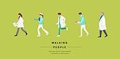 사람, 걷기, 옆모습, 직업, 의사, 간호사