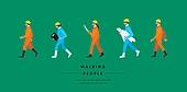 사람, 걷기, 옆모습, 직업, 건축, 전문직 (직업), 기술자 (전문직), 건축도급업자 (전문직), 설계도 (플랜), 안전모