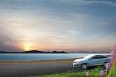 그래픽이미지, 풍경 (컨셉), 자동차, 도로, 속도 (컨셉), 하늘, 여행, 바다