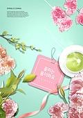 그래픽이미지, 편집디자인, 봄, 꽃, 파스텔톤, 이벤트페이지