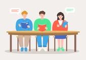 캠퍼스 (대학교), 대학생, 대학교 (교육시설), 신입생 (학생), 학생, 동아리, 책상, 말풍선