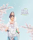봄, 벚꽃, 벚꽃축제, 데이트, 커플 (인간관계), 사랑 (컨셉), 스킨십 (밝은표정)