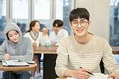 카페, 공부, 대학생, 미소