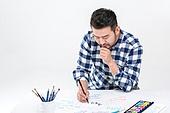 40-49세 (중년), 남성, 취미 (주제), 글씨쓰기 (움직이는활동), 서예 (캘리그래피)