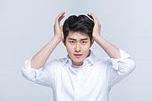 한국인, 한국인 (동아시아인), 남성 (성별), 남성, 머리만지기
