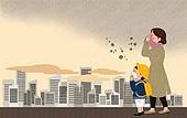 라이프스타일, 스모그 (대기오염), 건강관리 (주제), 먼지, 걱정, 고층빌딩 (회사건물), 구름, 마스크 (방호용품)