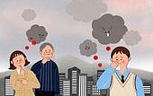 라이프스타일, 스모그 (대기오염), 건강관리 (주제), 먼지, 걱정, 코감기 (감기), 고층빌딩 (회사건물)