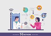 5G, 기술, 인터넷, 컴퓨터네트워크, 클라우드컴퓨팅 (인터넷), 4차산업혁명 (산업혁명), 빅데이터 (인터넷), 의사, 진찰