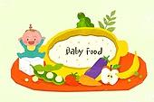 아기 (인간의나이), 밥, 이유식, 성장, 유아교육, 밥그릇 (사발), 완두콩깍지 (채소), 과일, 채소 (음식)