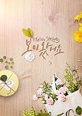 그래픽이미지, 편집디자인, 봄, 새싹, 잎 (식물부분), 꽃, 프레임, 캘리그래피 (문자), 포스터, 레이아웃